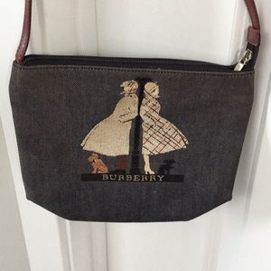 BURBERRY Denim Embroidered Bag Leather Strap Cute